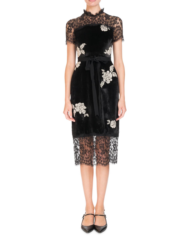 Short Sleeve Velvet Dress