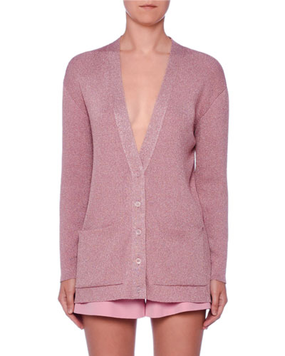 V-Neck Button-Front Metallic-Knit Oversized Cardigan
