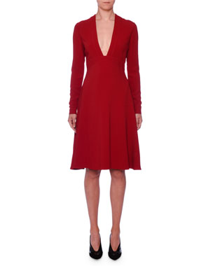 Stella McCartney Deep-V Long-Sleeve Fit-and-Flare Stretch-Cady d742c0d9b6d75