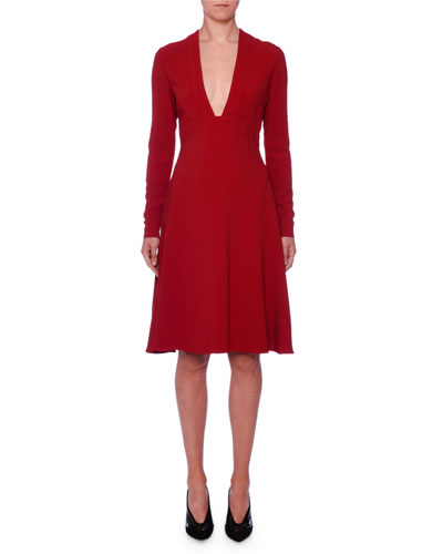 Deep-V Long-Sleeve Fit-and-Flare Stretch-Cady Dress