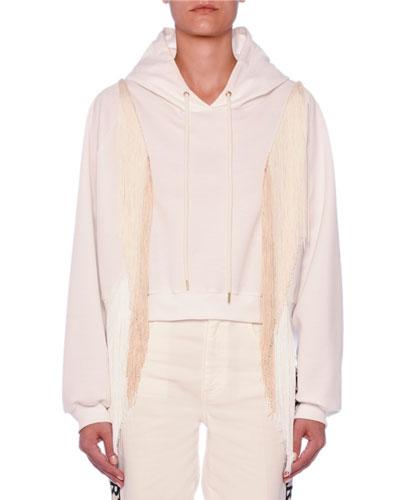 Fringe-Arms Cropped Hooded Sweatshirt