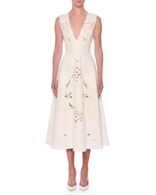 Stella McCartney V-Neck Sleeveless Embroidered Anglaise A-Line Midi Dress baa0b74ad5e63