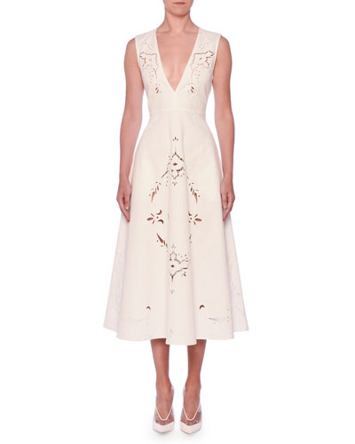 V-Neck Sleeveless Embroidered Anglaise A-Line Midi Dress