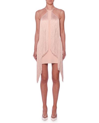 Sleeveless Illusion Wing Fringe Stretch-Cady Mini Dress