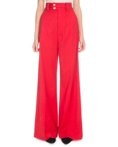 High-Waist Wide-Leg Stretch-Wool Pants