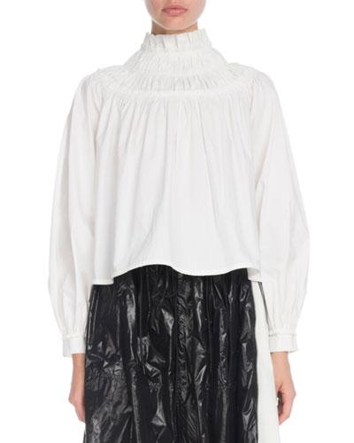 Shirred-Neck Long-Sleeve Cotton Tunic Blouse