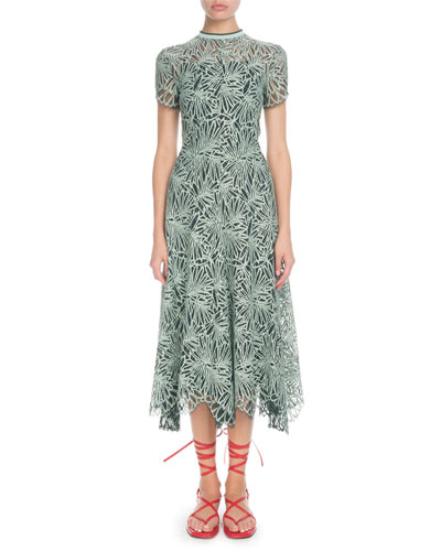 Mock-Neck Allover Printed Lace Midi Dress