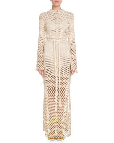 Bell-Sleeve Button-Front Tie-Waist Metallic-Crochet Long Dress