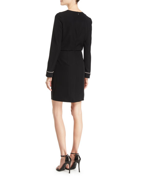 Long-Sleeve Woven Dress w/ Contrast Piping