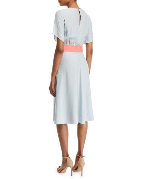 Asymmetric Slit-Sleeve Silk Dress