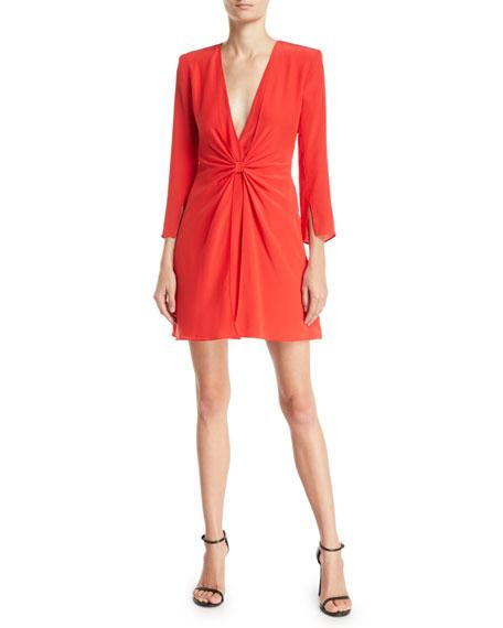 Deep-V Gathered 3/4-Sleeve Silk Crepe Short Cocktail Dress