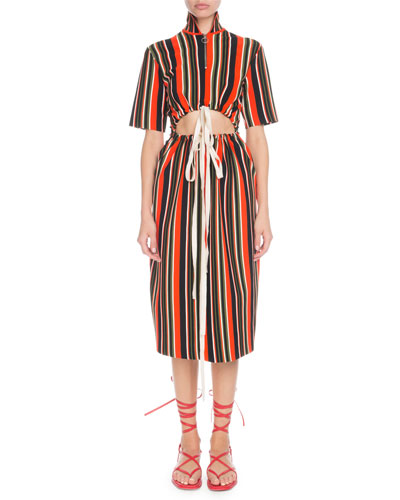 Drawstring Cutout-Waist Short-Sleeve Stripe-Knit Midi Dress