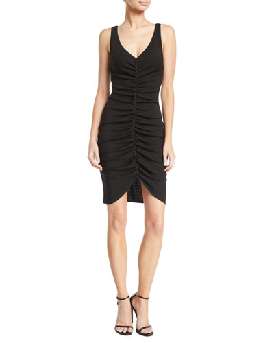 Deep-V Sleeveless Ruched Short Dress