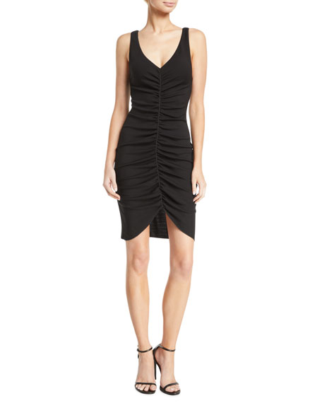 Deep-V Sleeveless Ruched Short Dress