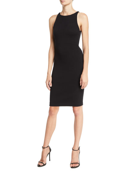 Crewneck Sleeveless Textured-Jersey Sheath Dress