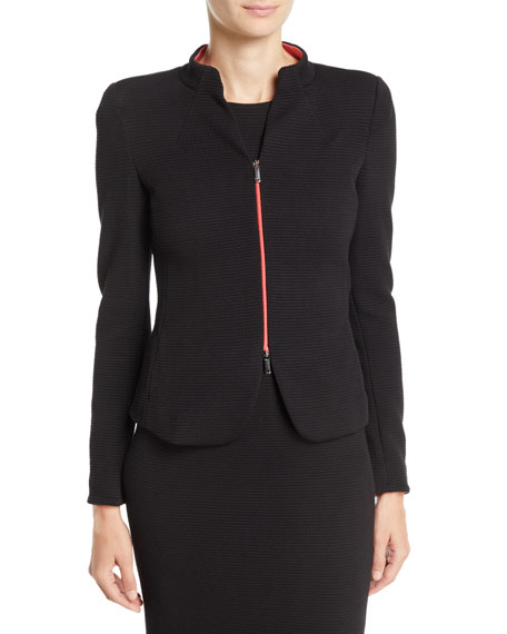 Zip-Front Textured Jersey Jacket
