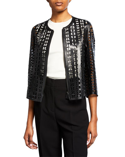Audrey Laser Cut Leather Jacket