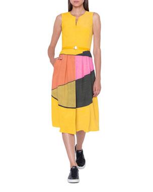 578336c3a2 Akris Belted Sleeveless Sunrise-Colorblock Apron Dress