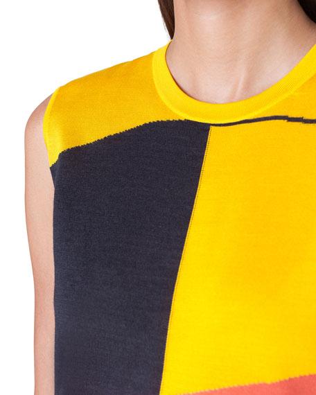 807b54ec2cd821 Image 3 of 3  Sleeveless Sunrise-Colorblock Cashmere Sweater