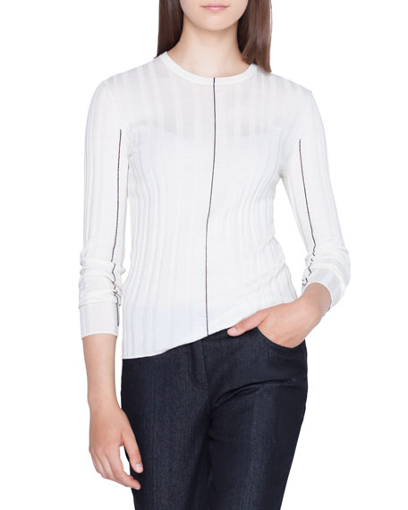 Akris Contrast-Lined Ribbed Cashmere Sweater