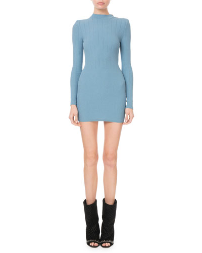 Balmain Mock Neck Crochet Ribbed Knit On Shoulder Mini Dress
