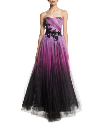 Floral-Beaded Strapless Ombre-Tulle Gown