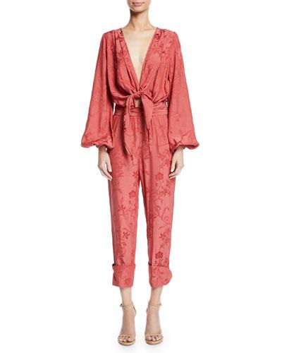 Fanfare Plunging Tie-Front Blouson-Sleeve Floral-Jacquard Viscose Jumpsuit