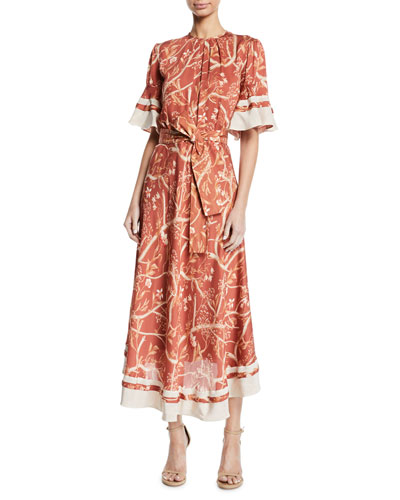 Rhapsody Short-Sleeve Belted Floral-Print Silk Georgette Tea-Length Dress