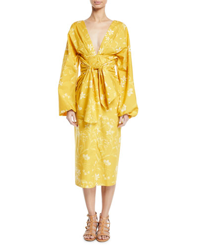 San Bernardo del Viento Floral-Print Deep-V Wrap Dress