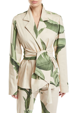 Johanna Ortiz Palm-Print Canvas Wrap Jacket