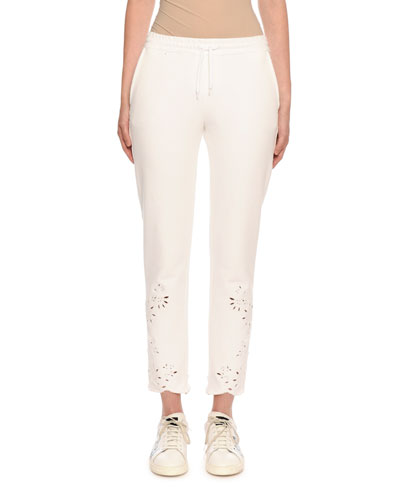Eyelet-Embroidered Crop Sweats