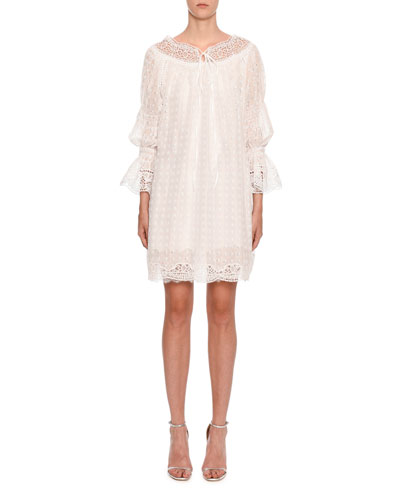 Long-Sleeve Lace and Eyelet Dress