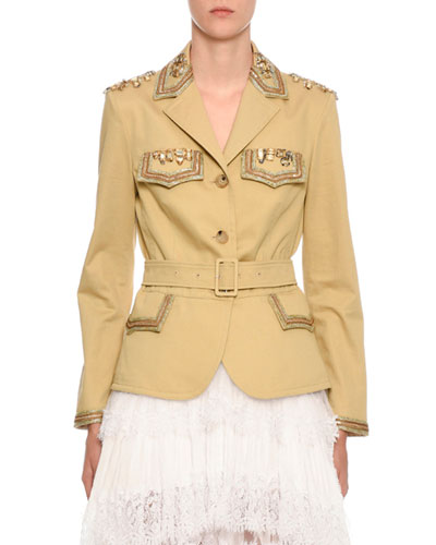 Embellished Belted Safari Jacket