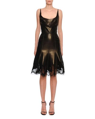 Sleeveless Metallic-Leather Lace Hem Dress