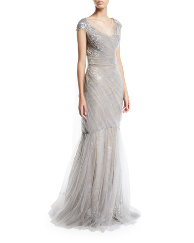 Cap-Sleeve Metallic Floral Brocade Gown With Draped Tulle Overlay