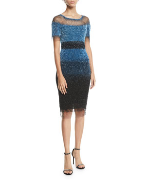 47b3d16ffefc Pamella Roland Short-Sleeve Ombre Sequined Illusion Dress