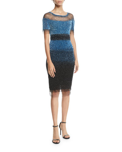 Short-Sleeve Ombre Sequined Illusion Dress
