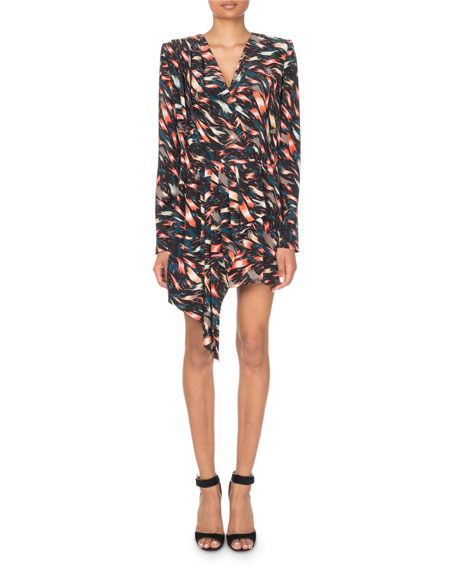 Givenchy Long-Sleeve Abstract Print Cascading Mini Dress