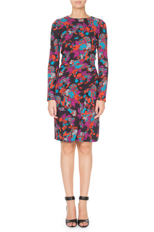 Givenchy Long-Sleeve Ruched Waist Floral Print Dress