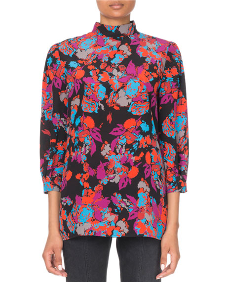 Givenchy 3/4-Sleeve Floral-Print Mock Neck Blouse