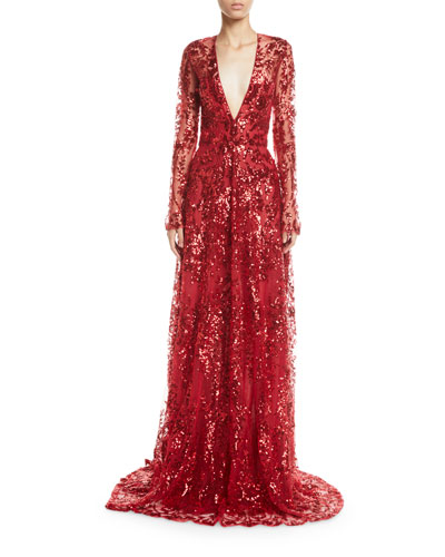 Long-Sleeve Deep V-Neck Sequined-Lace Gown