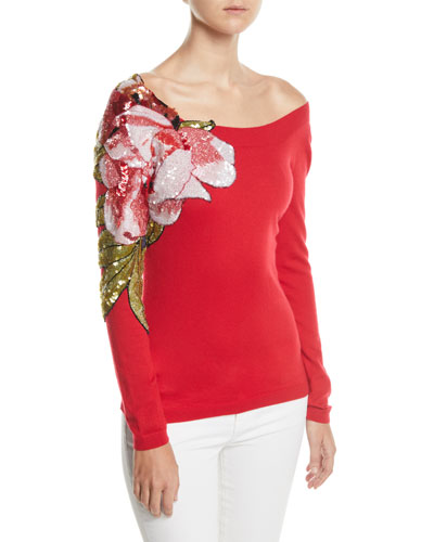 Off-The-Shoulder Floral Embroidered Cashmere Sweater