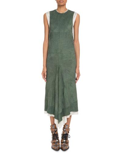 Crewneck Sleeveless Suede Midi Dress w/ Poplin Combo