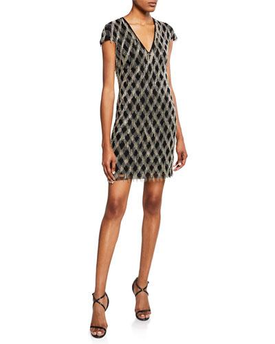 V-Neck Sequined Fringe Dress