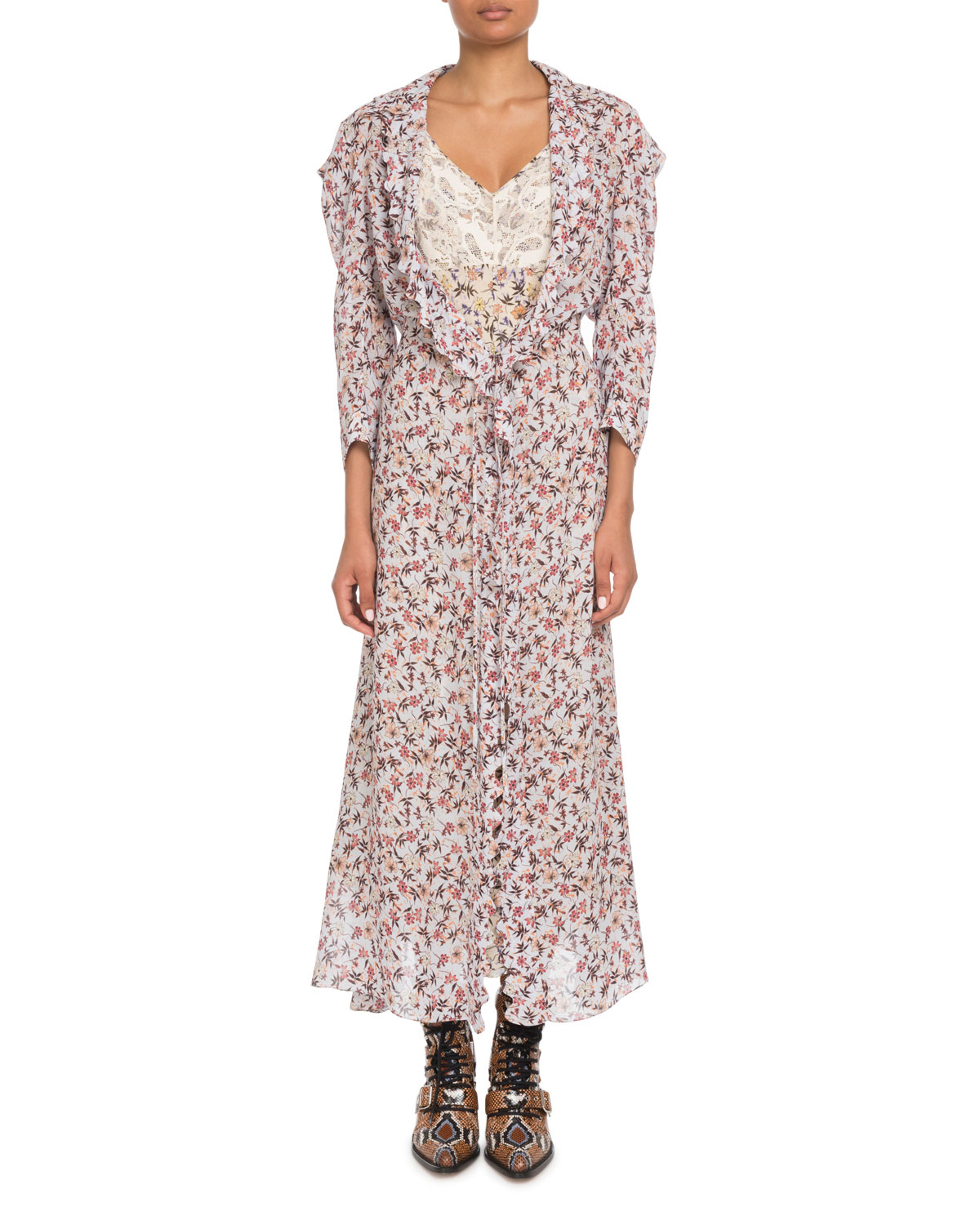 Chloe Long-Sleeve Floral-Print Viscose A-Line Duster Coat and ...