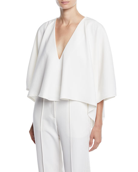 Sally Lapointe V-NECK ELBOW-SLEEVE DRAPED TOP W/ BEADED SHOULDER