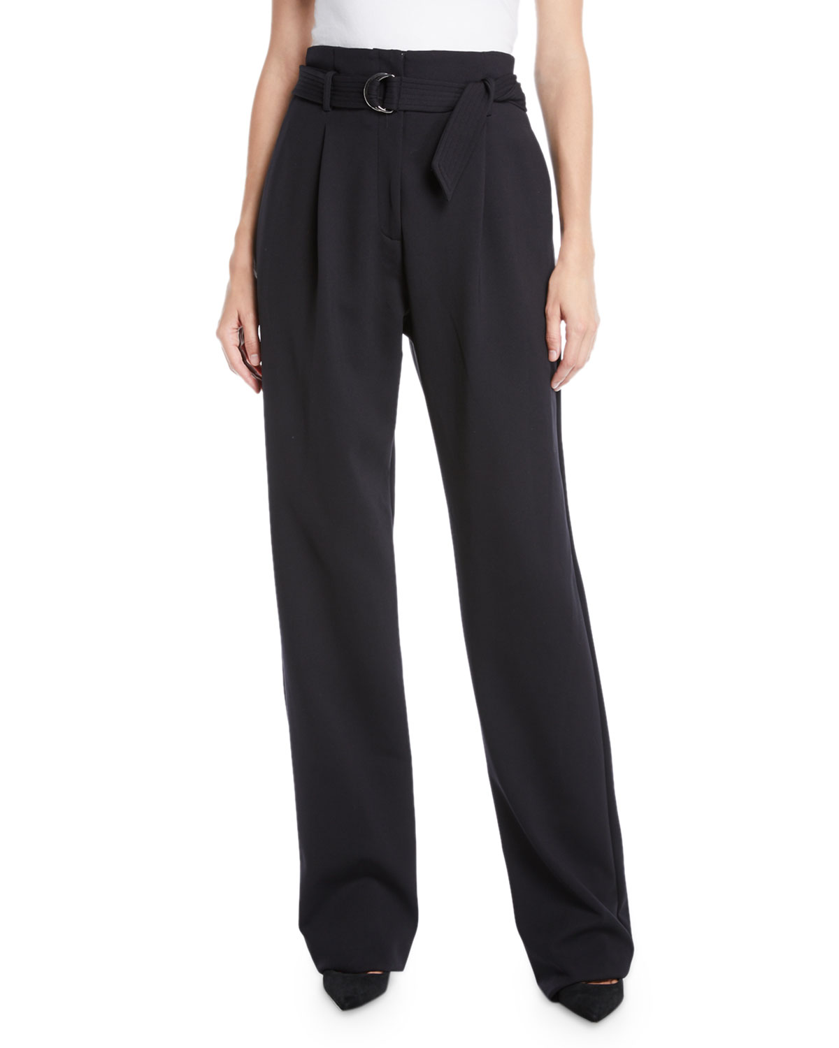 49b0584e547a3 Sally LaPointe Belted High-Waist Straight-Leg Crepe Pants