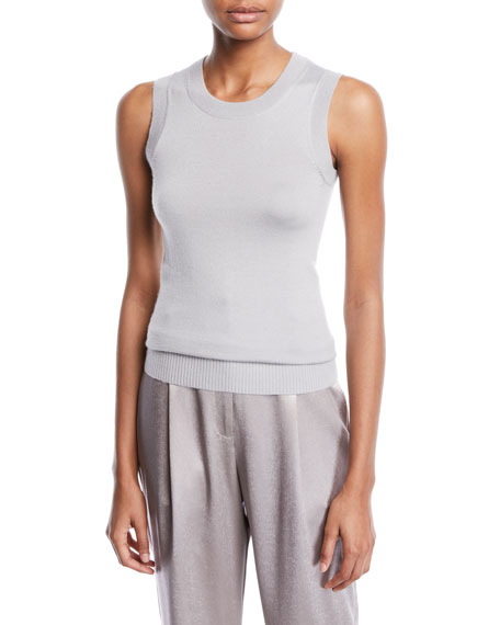 SALLY LAPOINTE Crewneck Sleeveless Cashmere-Silk Shell in Light Gray