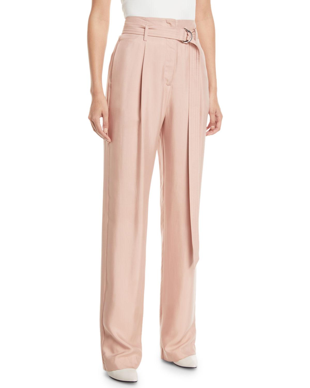 aae2b0ac18485 Sally LaPointe Belted High-Waist Straight-Leg Silk Twill Pants ...