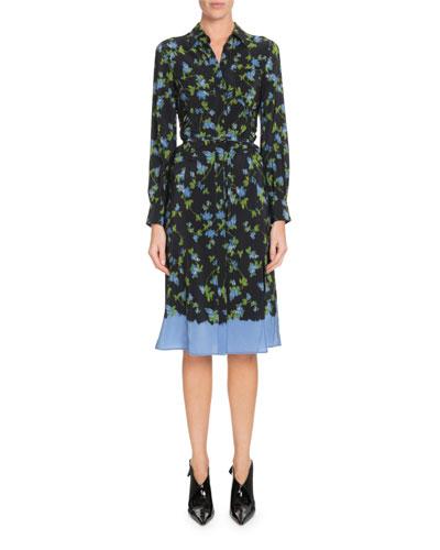 Long-Sleeve Button-Front Floral-Print Silk Dress